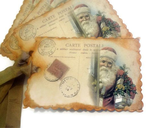 images+of+antique+christmas+tags | French Christmas Tags, Vintage Christmas Tags, Santa Tags, Saint ...