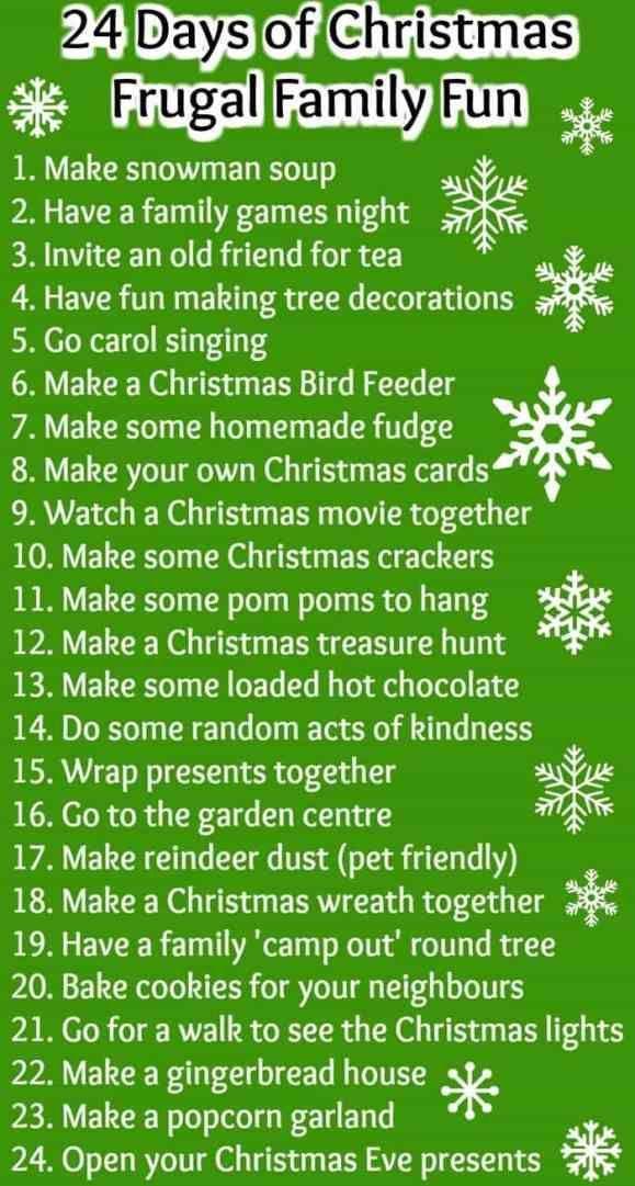 24 Days of Christmas Frugal Family Fun | Christmas | Pinterest ...