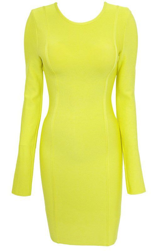 d65a280bbcd Herve Leger Jennifer Lopez Long Sleeve Lime Green Bandage Dress ...