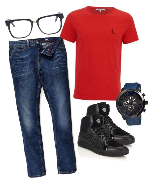 """Untitled #36"" by fashionqueen63 on Polyvore featuring River Island, Versace, MOS, RetroSuperFuture, mens, men, men's wear, mens wear, male and mens clothing"