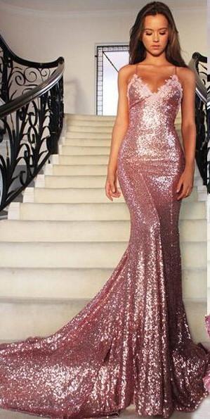 Backless Mermaid Prom Dress Sexy Sequin Prom Dress Prom Dresses