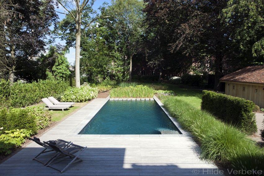 Biologisch zwembad met terras in padoek bij authentieke woning