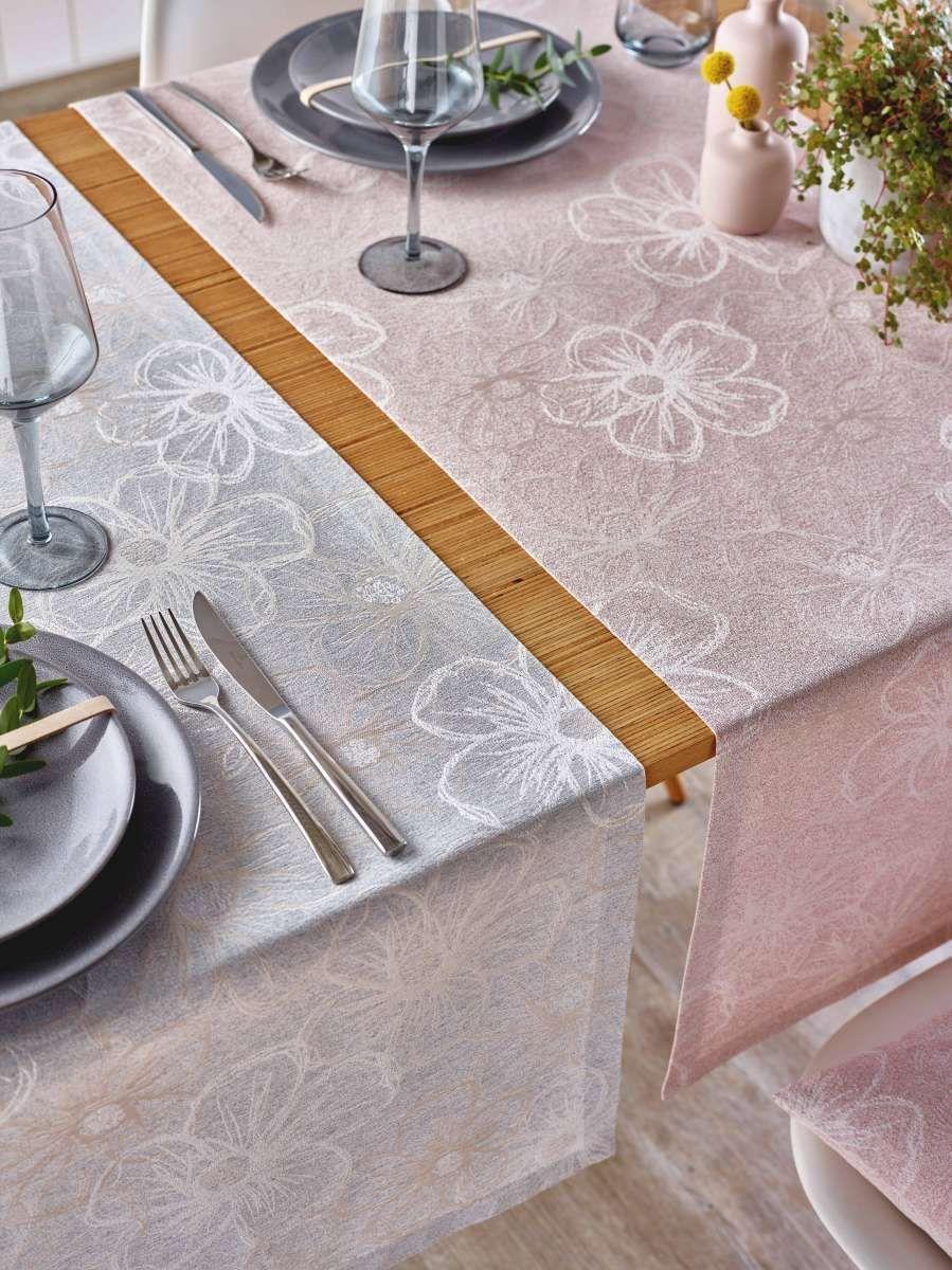 Tischläufer Blumenmuster weiss 50x140cm