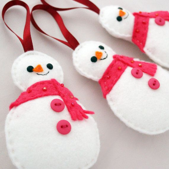 Set of 3 Snowmen Christmas Tree Ornaments pink by hannahdoodle, $25.00