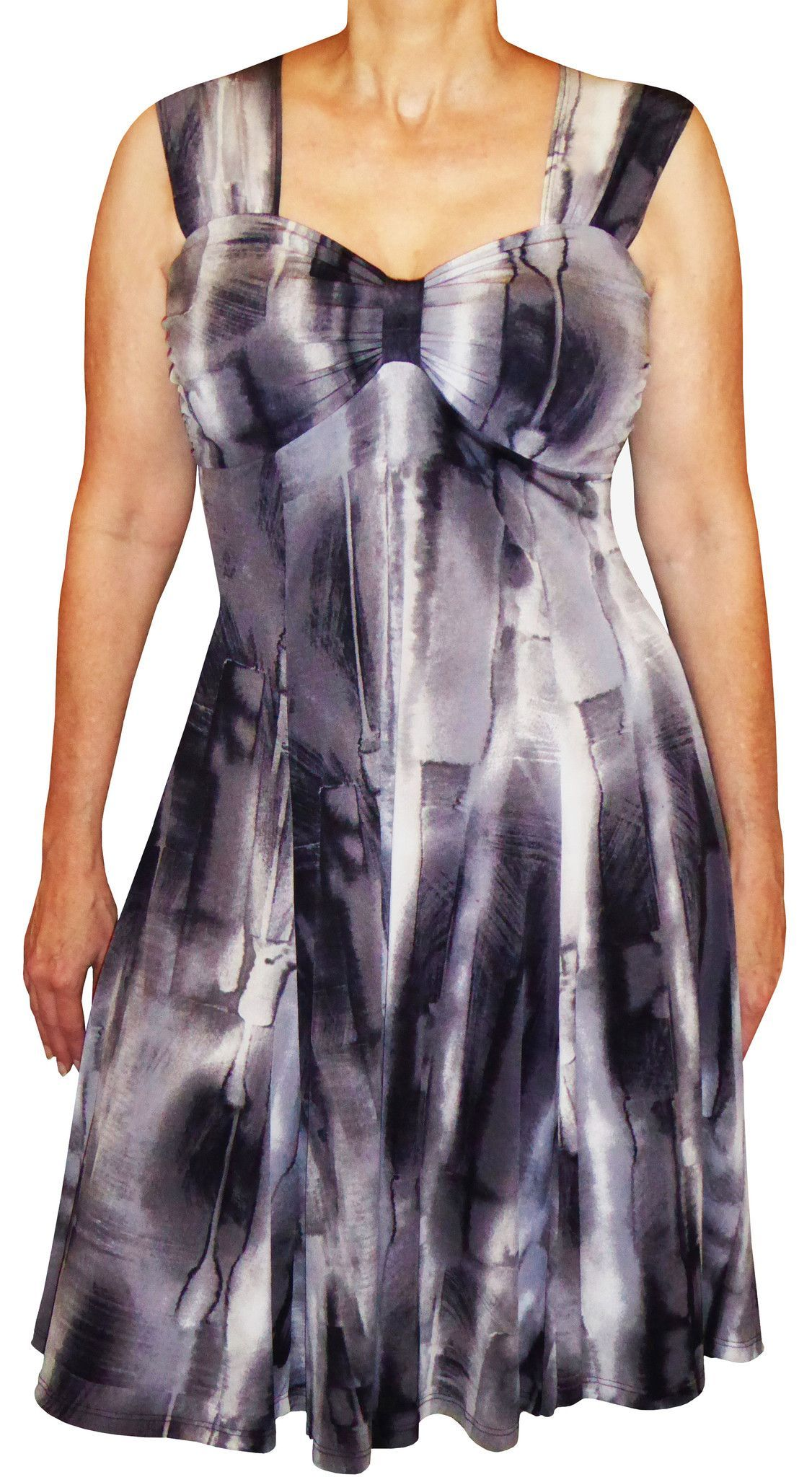 a7a94b4562a Plus Size Clothing Black White Gray Slimming Cocktail Dress Made in ...