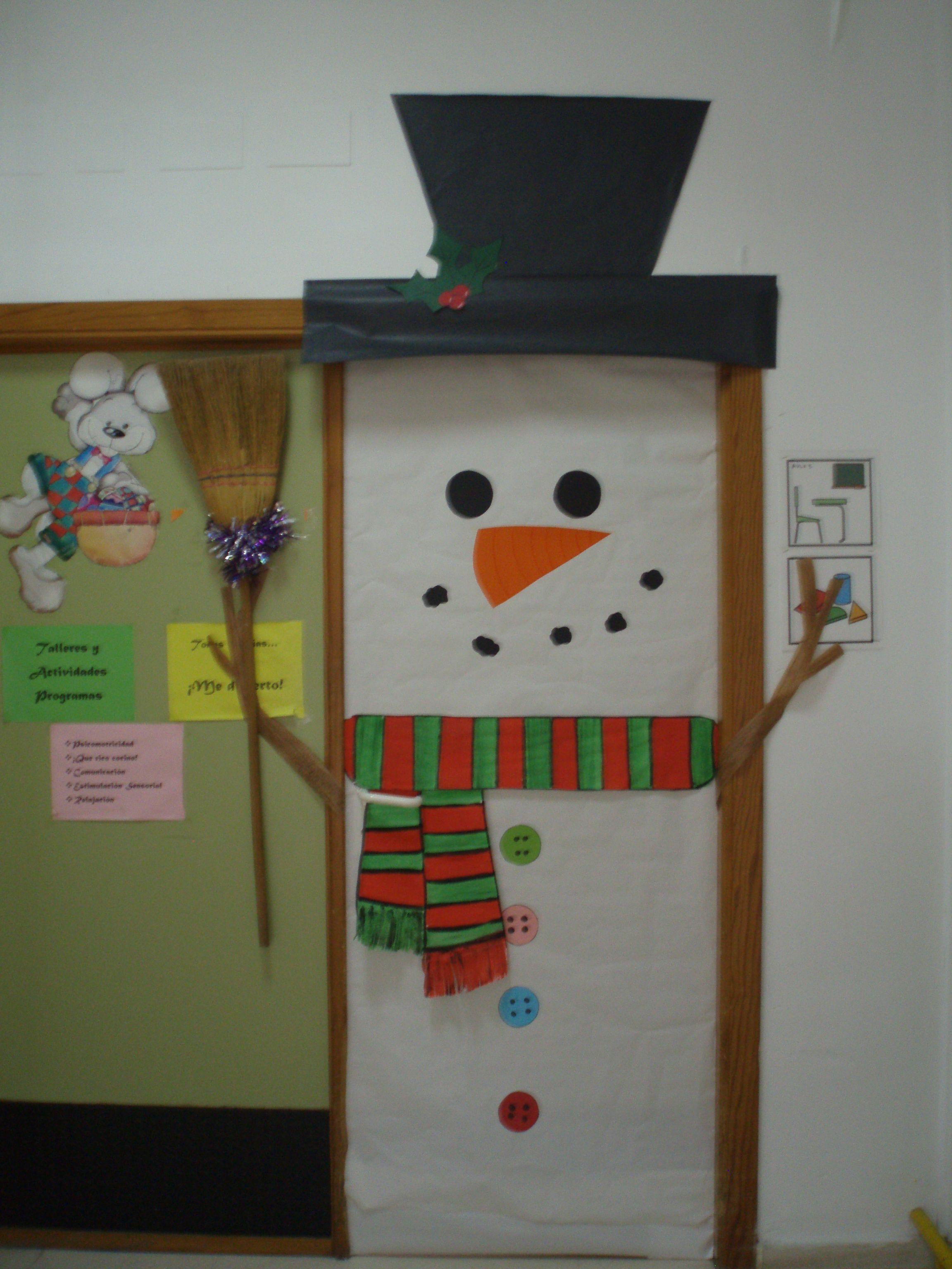 Puerta aula 3 navidad mis creaciones pinterest aula for Puertas decoradas santa claus