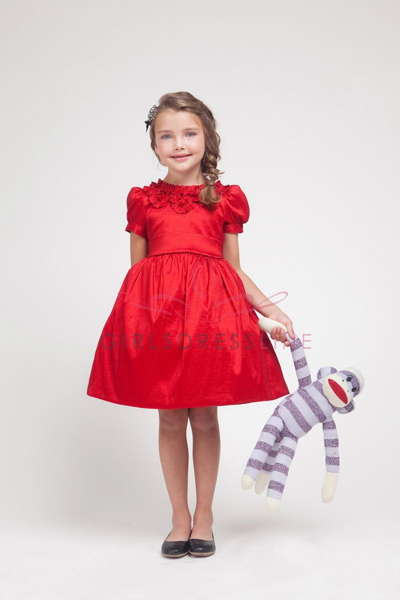 Red poly dupioni frilling neckline puff short sleeves flower girl