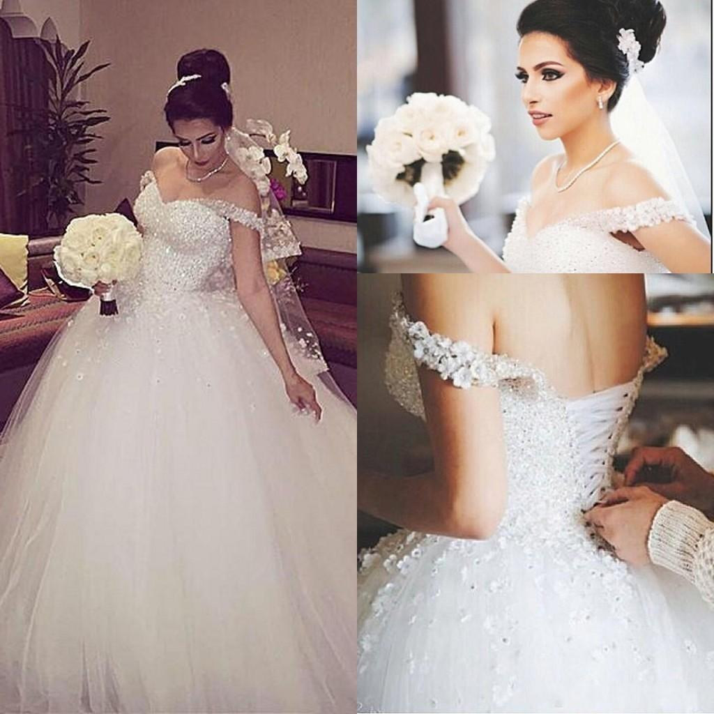 Simple off the shoulder wedding dresses  Gorgeous Bridal Dress with BeadingLace Up Prom Dress with Off the