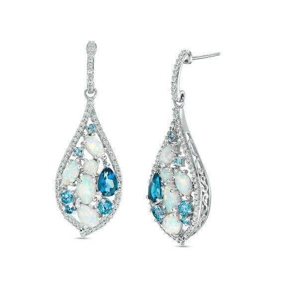 Zales Pear-Shaped Swiss Blue Topaz and Lab-Created White Sapphire Teardrop Frame Stud Earrings in Sterling Silver 9RKycn8l84