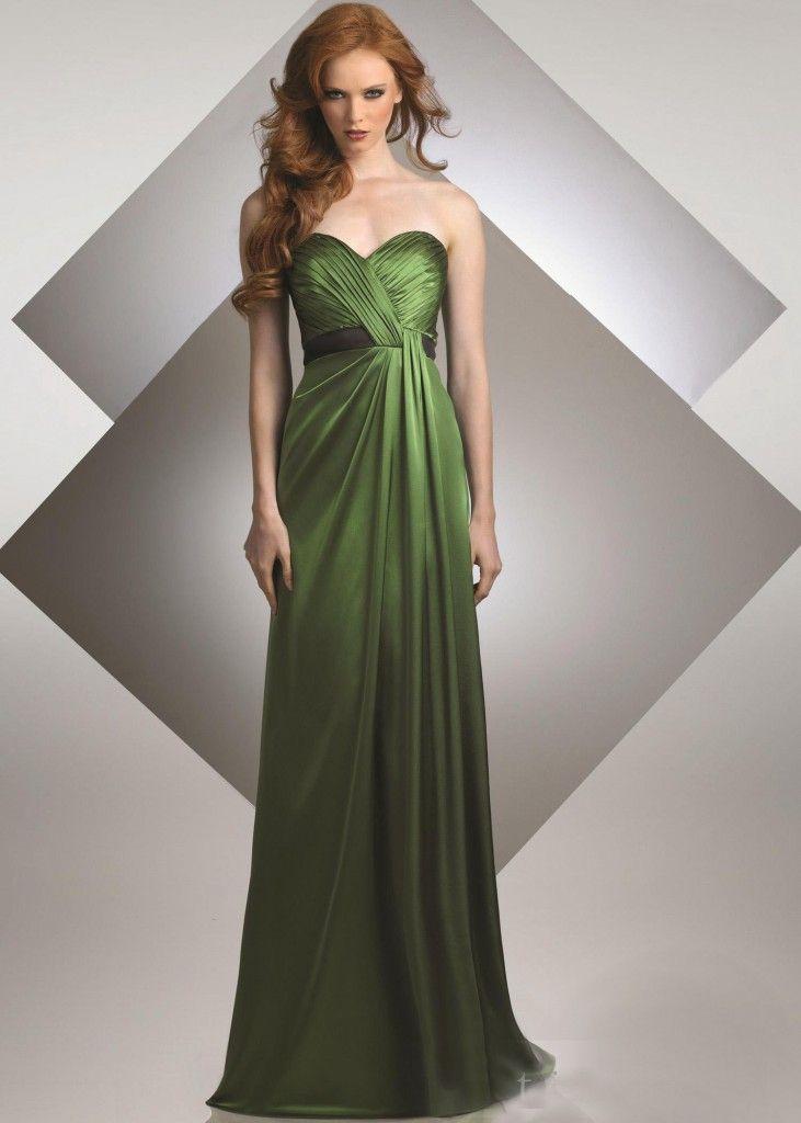 Elastic satin dark green bridesmaid dress green