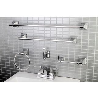 Modern Square Chrome Metal Faucet Towel Rack Bathroom Faucet U0026 Bathroom  Accessory Set