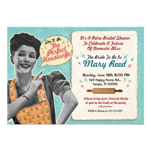 retro housewife bridal shower invitations