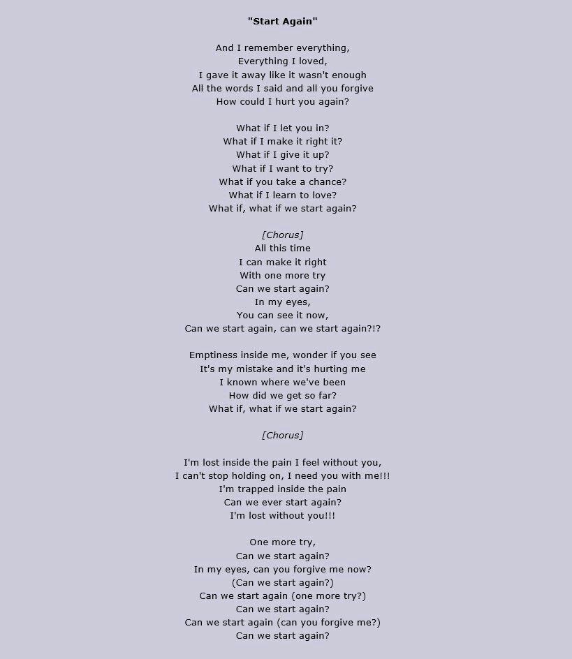 Red - Start Again Lyrics   Music Speaks   Pinterest