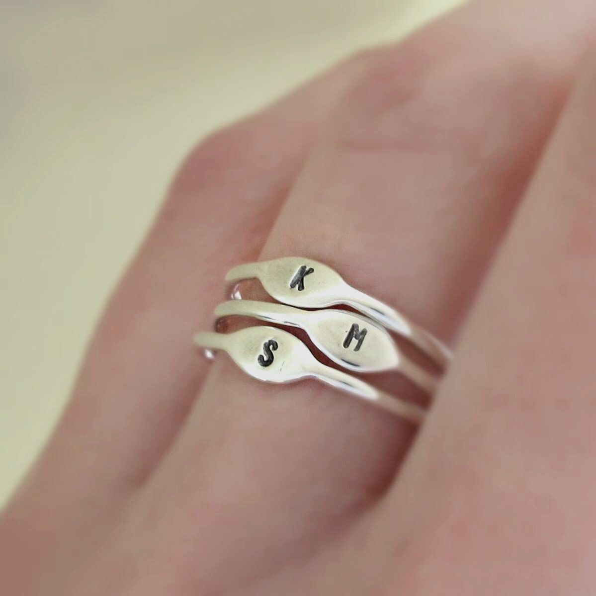 Initial stacking ring custom hand stamped letter in sterling silver