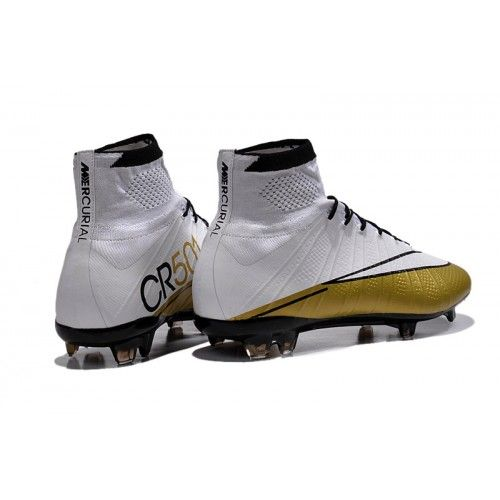 wholesale dealer 306bd a11fb Nike Mercurial Superfly CR7 FG Scarpe da calcio bianca Oroen Scarpe da  calcio poco prezzo