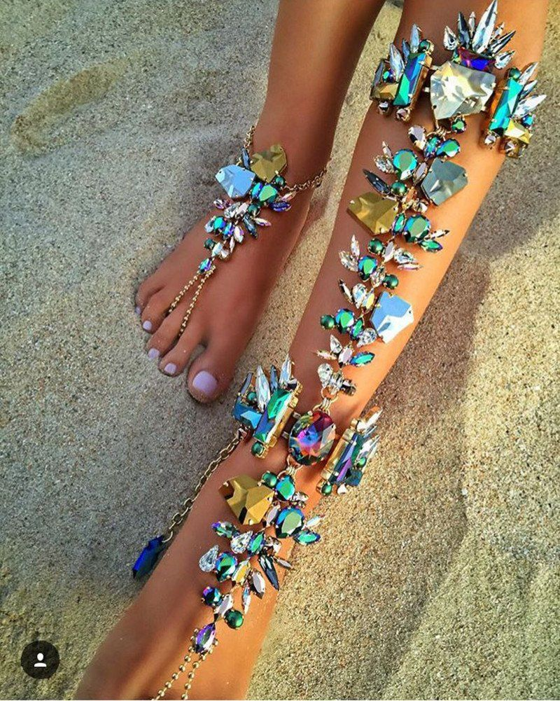 fashion jewelry alloy sandals anklet exaggerated water droplets retro beach barefoot pin sexy coin female foot tassel