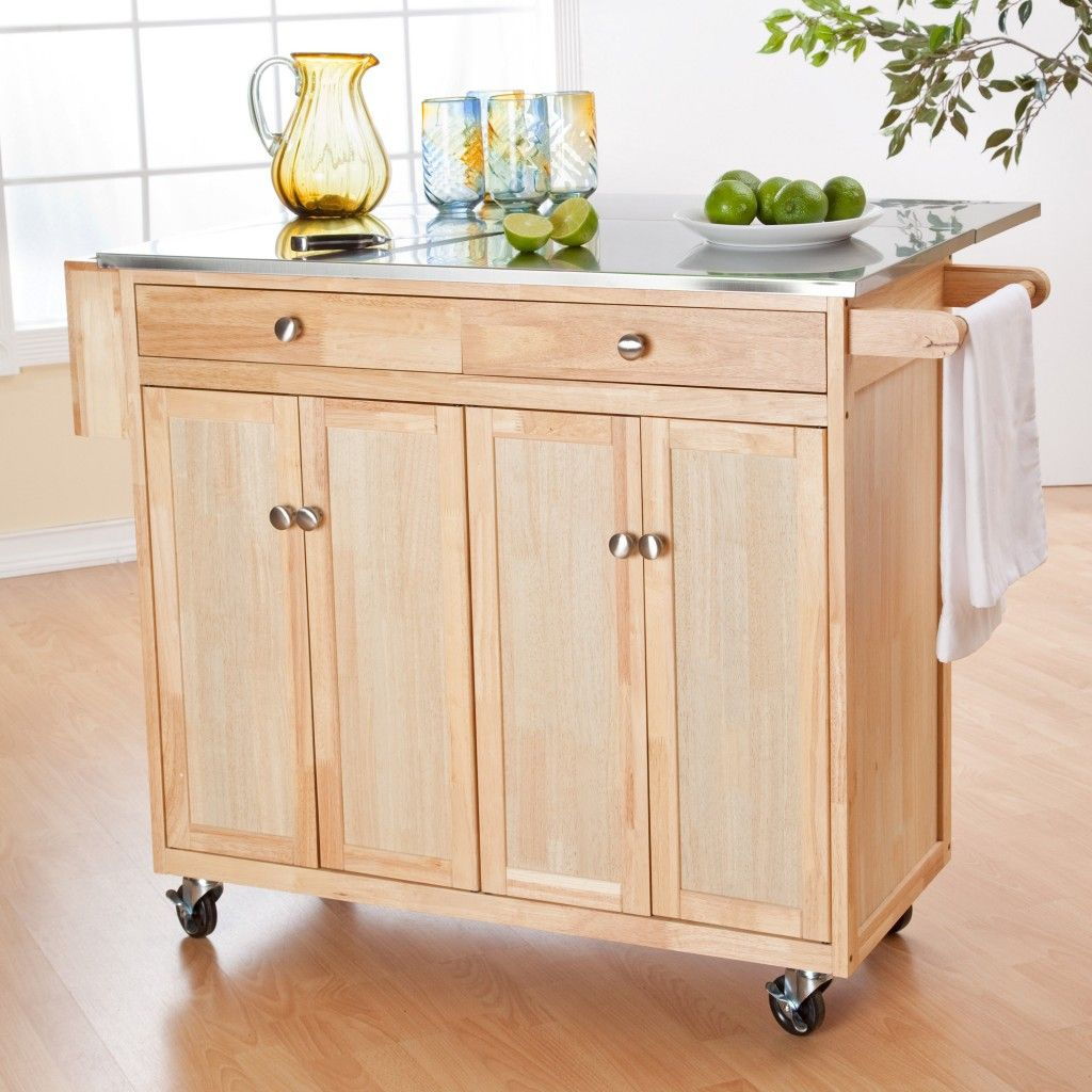 Furniture Cream Wooden Unfinished Kitchen Islands Carts With Grey Glossy Top And Wooden Rod Also Silver Wheel On Laminate Flooring Chic Design Of Kitchen Island