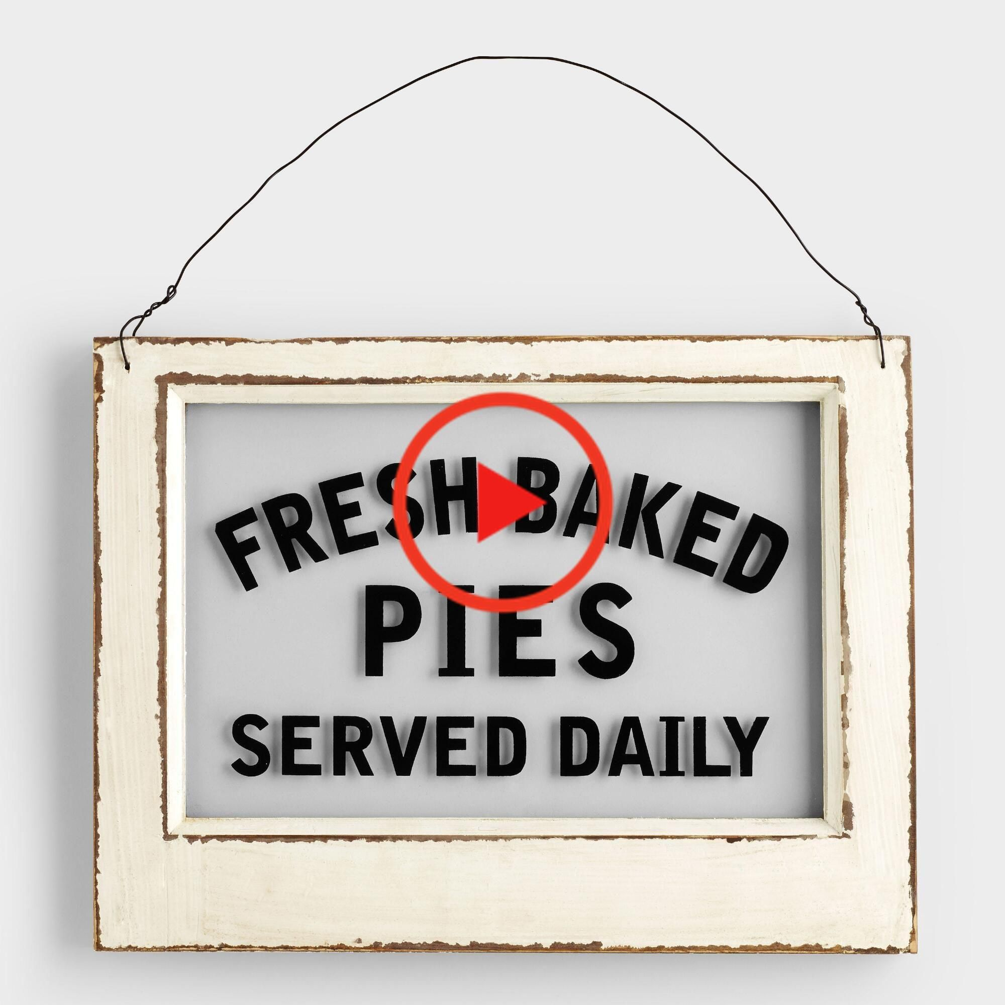 Wood and Glass Pie Sign: White by World #homedecor