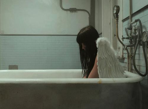 dark bathroom Angel