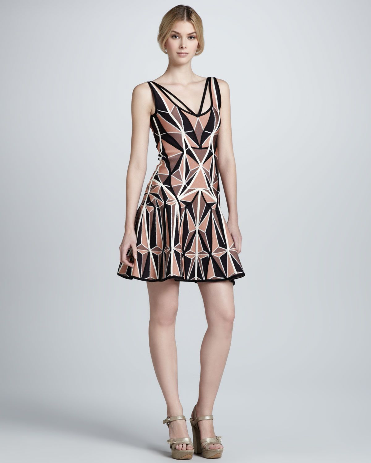 Herve Leger Printed Flared Bandage Dress Neiman Marcus