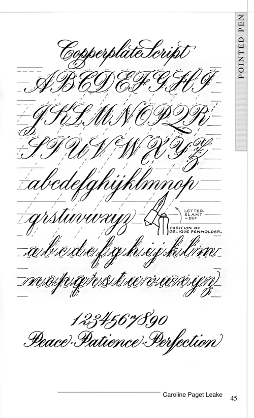 Copperplate Font Alphabet