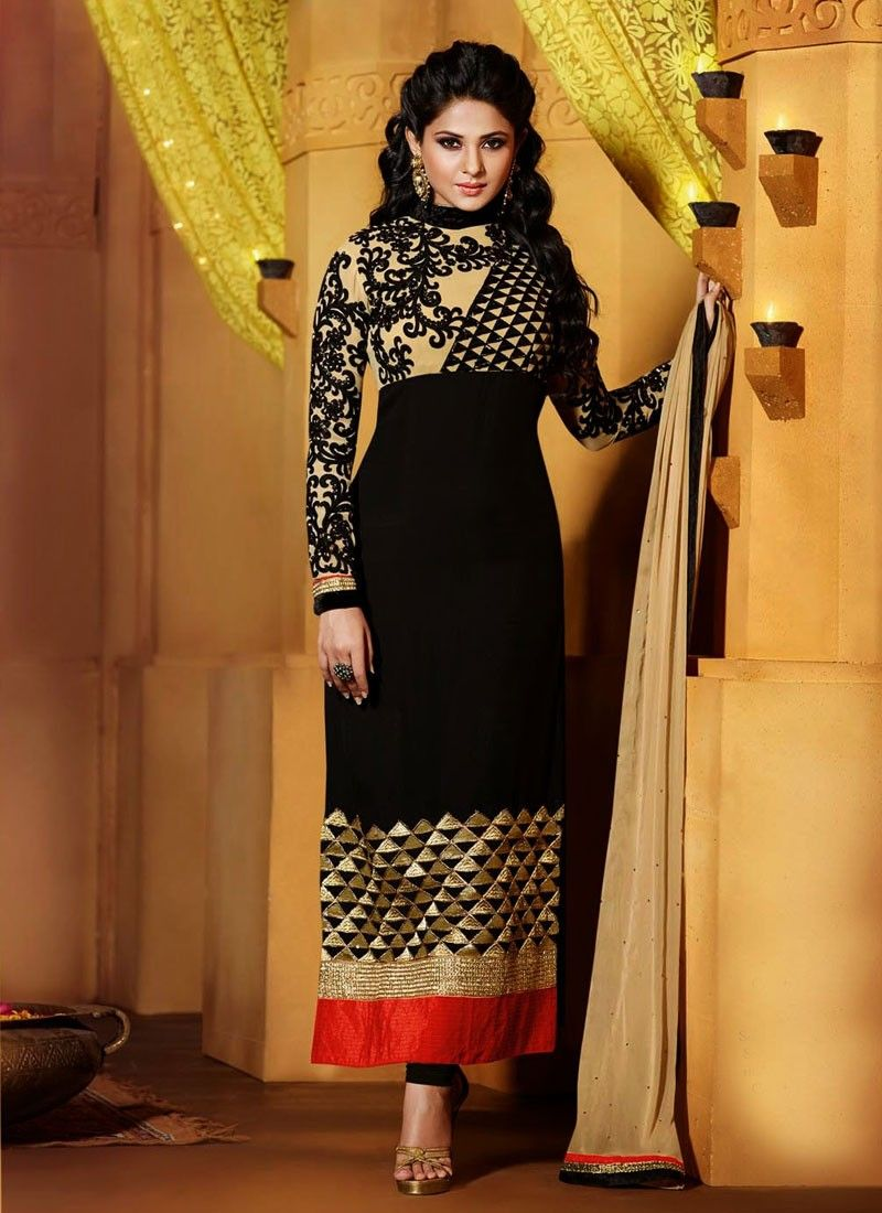 Lovable Black Color Jennifer Winget Pakistani Salwar Kameez | Indian ...
