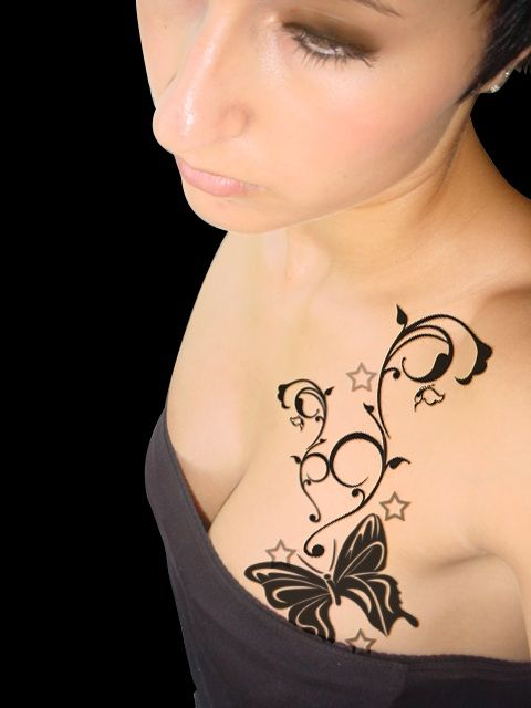 Butterfly Tattoo Design On Chest For Women Tattoos Pinterest