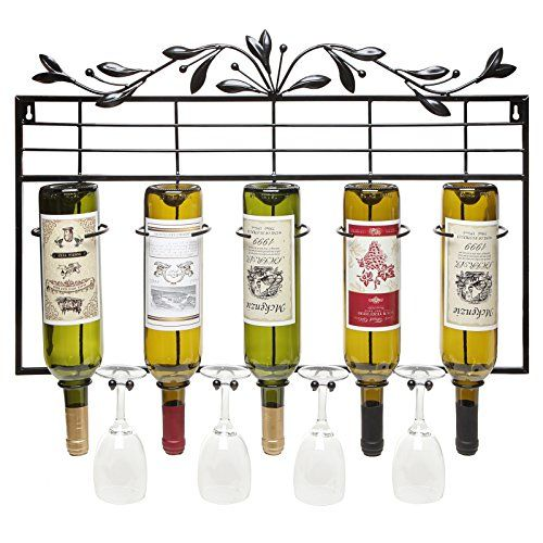 Wall Mounted 5 Bottle Metal Wine Rack / Wine Glass Hanger / Inverted Wine Bottle Holder, Black - MyGift MyGift http://www.amazon.com/dp/B00L1UQHXW/ref=cm_sw_r_pi_dp_SZa-tb1P23BQ9