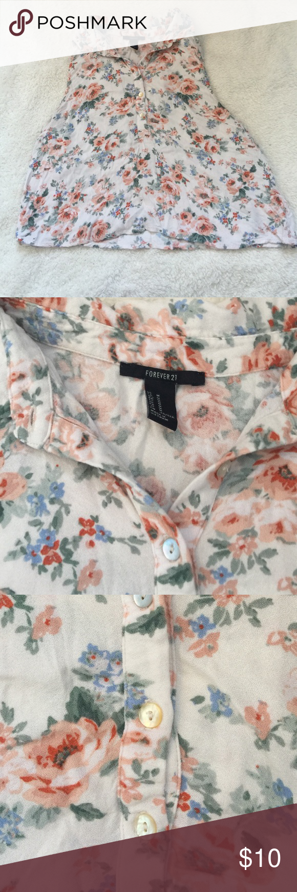 Floral Tank Top Tag says medium but fits like a small. Forever 21 Tops Tank Tops