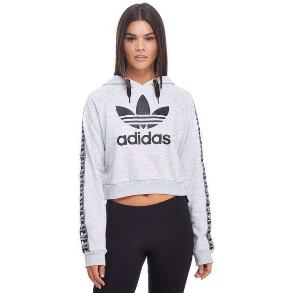 7920e4f4614e2 adidas Originals Tape Crop Overhead Hoody (€56) ❤ liked on Polyvore  featuring tops