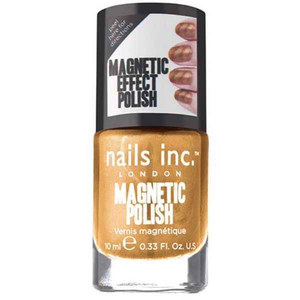 Nails Inc Unique Metallic Gold Magnetic Special Effects Nail Polish-... (10 CAD) ❤ liked on Polyvore featuring beauty products, nail care, nail polish, magnetic nail color, magnet nail polish, metallic gold nail polish and magnetic nail polish