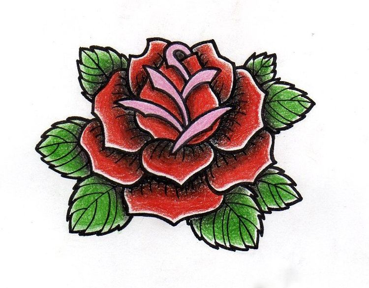 Tattoo Vorlage Im Old School Stil Rose Rockabilly Tattoo