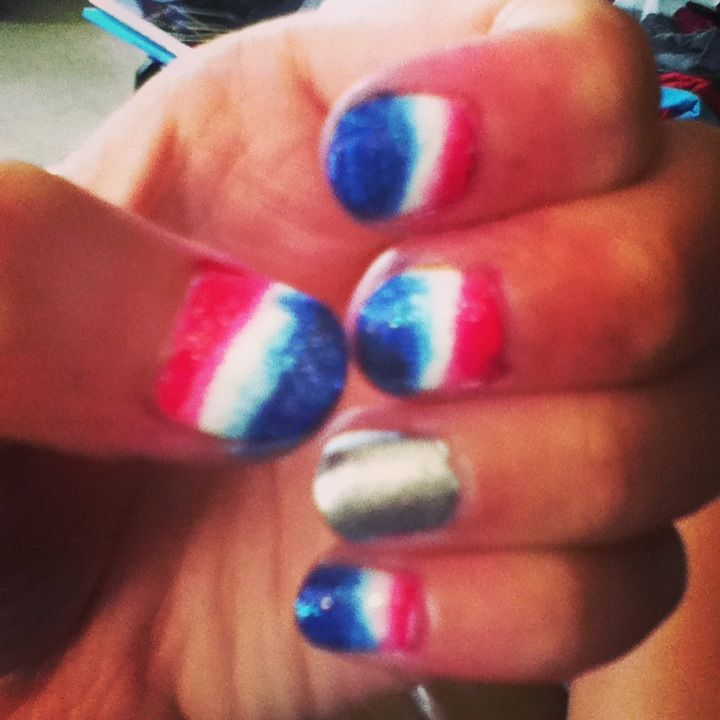4th of July gradient nails done by me
