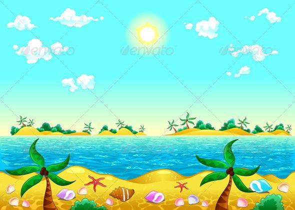 Seashore And Ocean Landscape Illustration Landscape Background Beach Cartoon