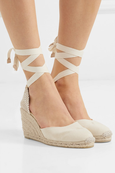 c2cfad41085 Wedge heel measures approximately 95mm  4 inches Ivory canvas Ties at ankle  Made in Spain