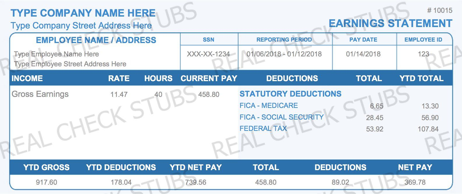 Real Paycheck Stubs Create Stub Paycheck, Company