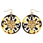 Tortoise Filigree Circle Earrings by Susan Shaw