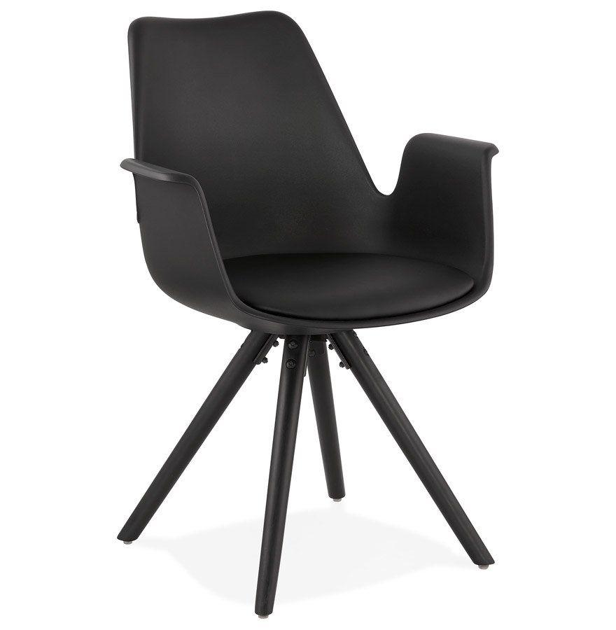 Chaise Avec Accoudoirs Zalik Noire Avec Pieds En Bois Noir Chaise Design Equipee D Un Siege En Matiere Plastique Noir Chaise Accoudoir Chaise Design Chaise