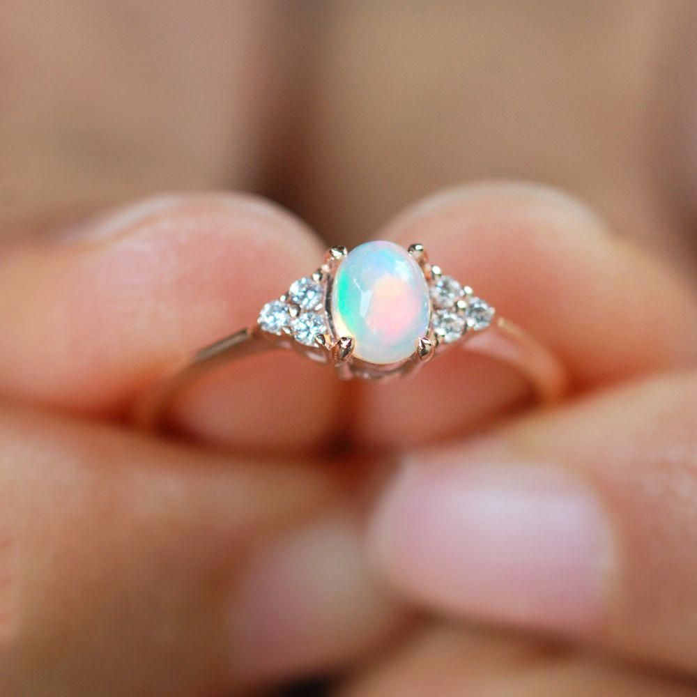 Details about  /Vintage Orange Opal Ring Women Birthday Wedding Engagement Jewelry Size 6 7 8 9