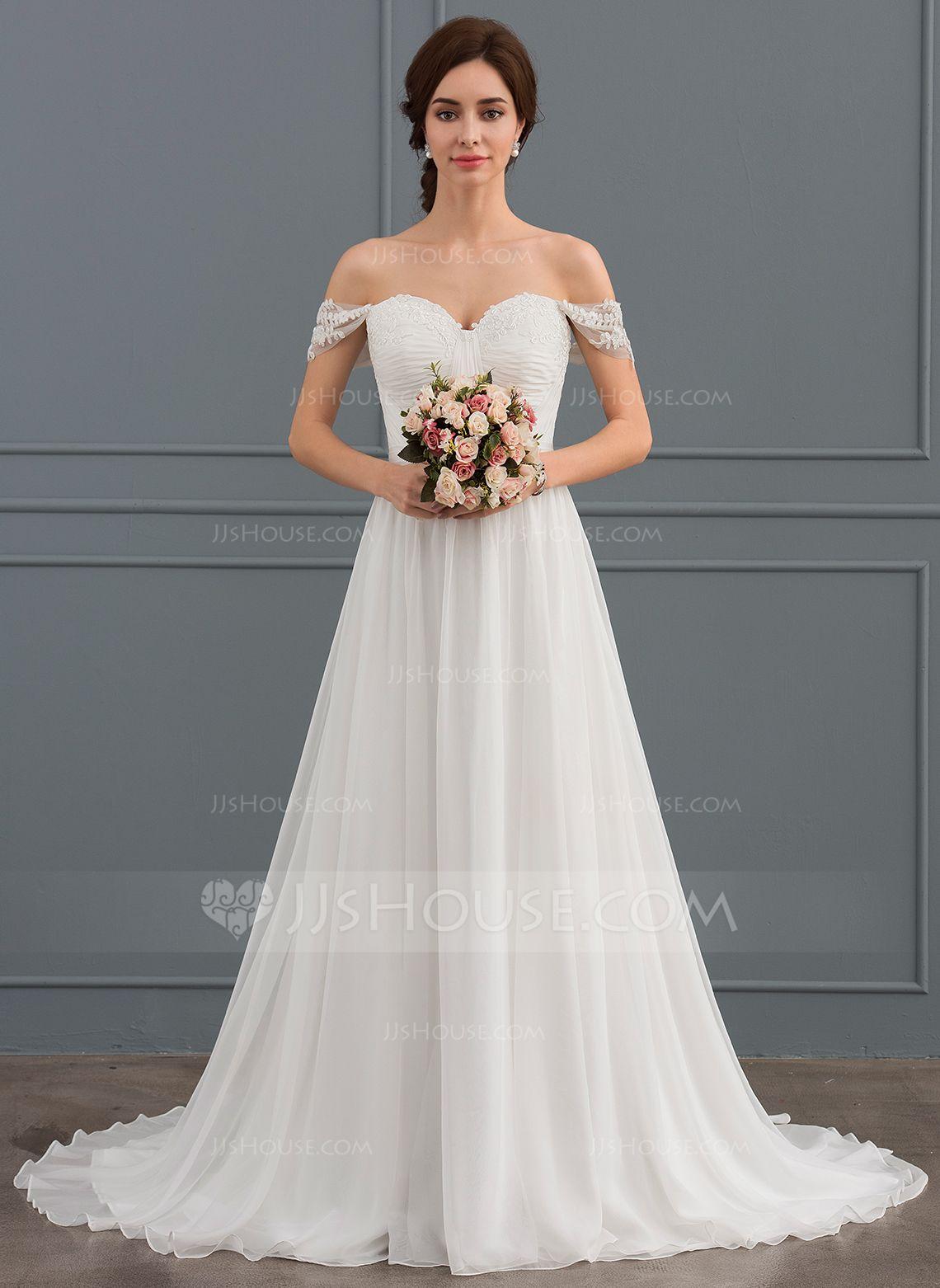 Us 209 00 A Line Princess Off The Shoulder Sweep Train Chiffon Lace Wedding Dress With Ruffle Jj S House Wedding Event Dresses Ruffle Wedding Dress Wedding Dress Styles [ 1562 x 1140 Pixel ]