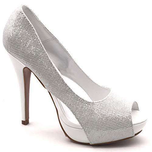 d122d521b08603 Angkorly - Chaussure Mode Escarpin Peep-Toe Stiletto soirée Femme Brillant  Talon Haut Aiguille 12.5