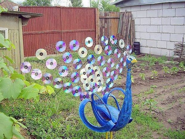 Recycled Garden Art Ideas 25 fun loving garden art ideas by upcycling household items reuse cd peacock workwithnaturefo
