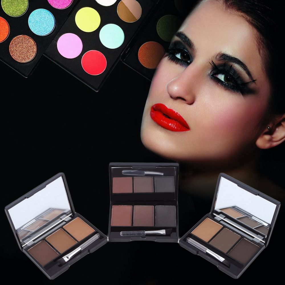 3 Colors Waterproof Smudge-proof Highlighter Eyebrow Powder Palette with Mirror and Eyebrow Brushes Inside for Salon Home Use