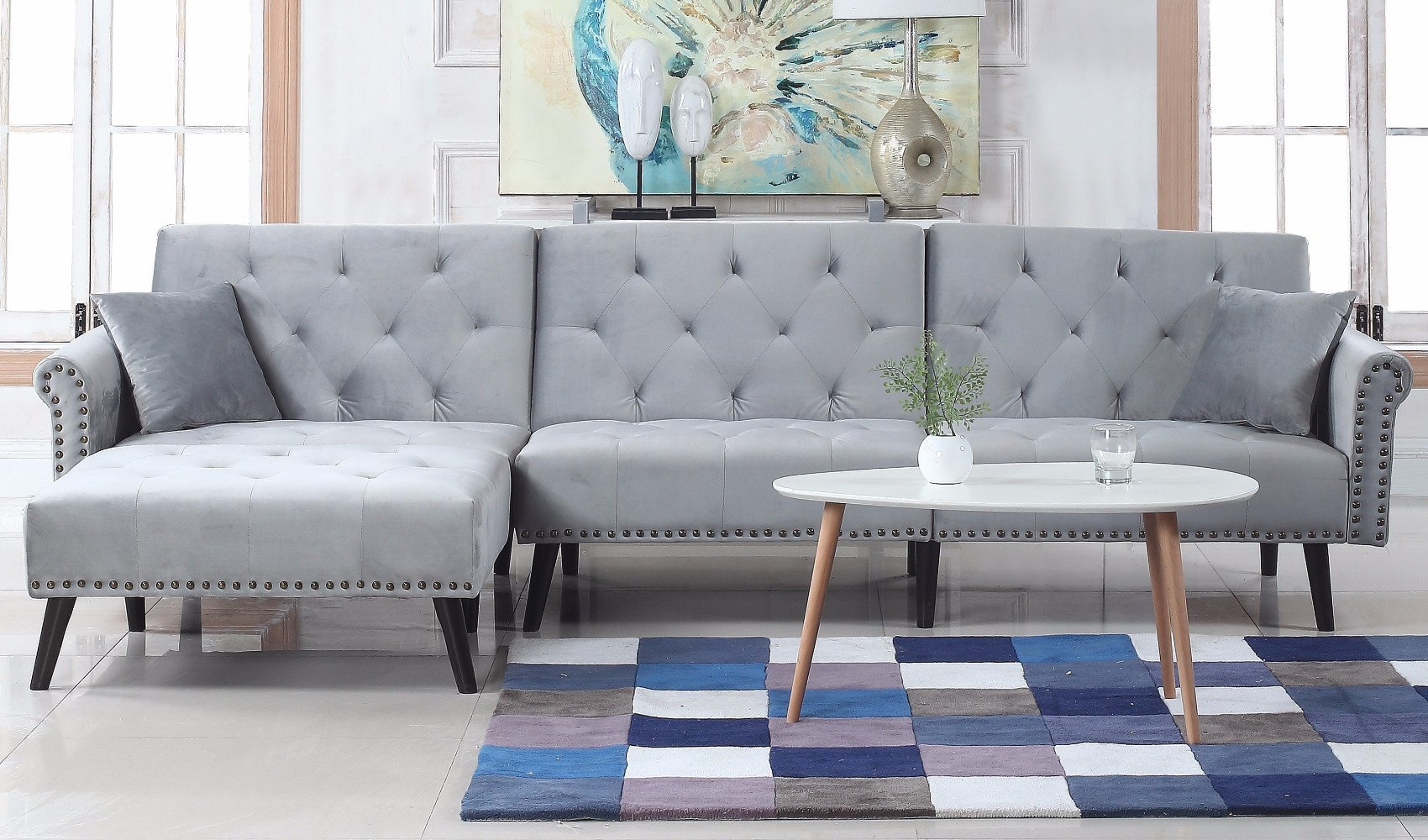 Victoria Velvet Sectional Futon With Chaise In Light Grey Sofa
