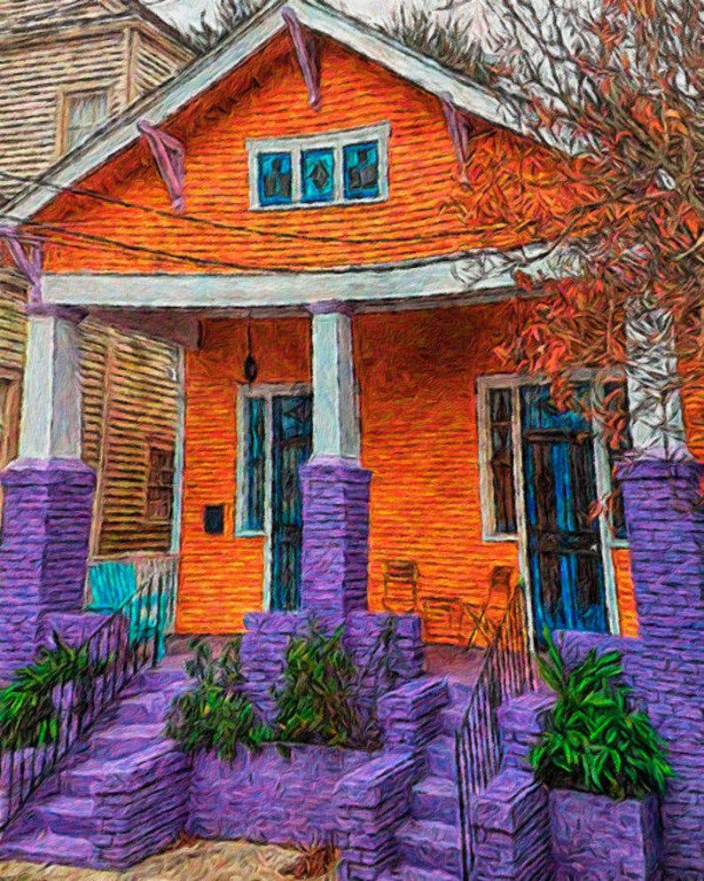 New Orleans Art Bywater Art New Orleans House Art Colorful Houses orange purple Funky House Art Mississippi Artist Bungalow KORPITA