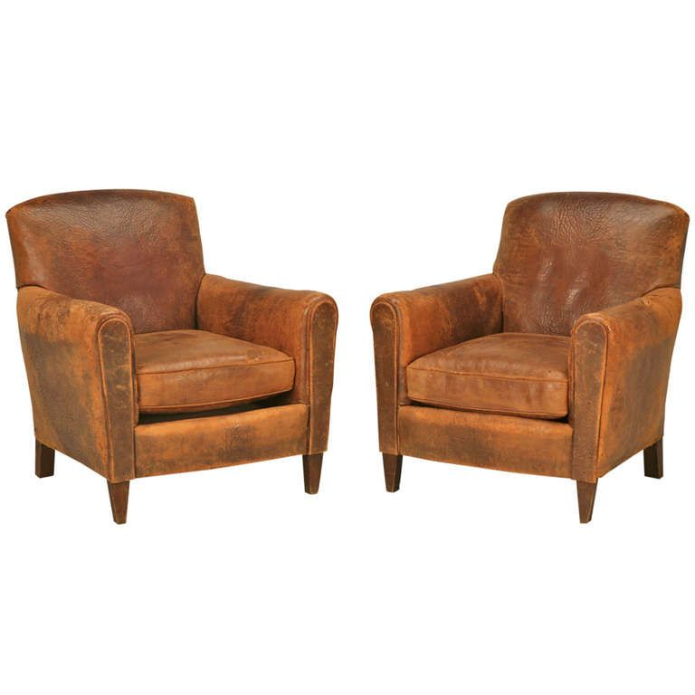 Stunning Pair Of Original 1930 S French Club Chairs W Textured Leather Club Chairs Leather Club Chairs Club Chairs Living Room Leather club chairs for sale