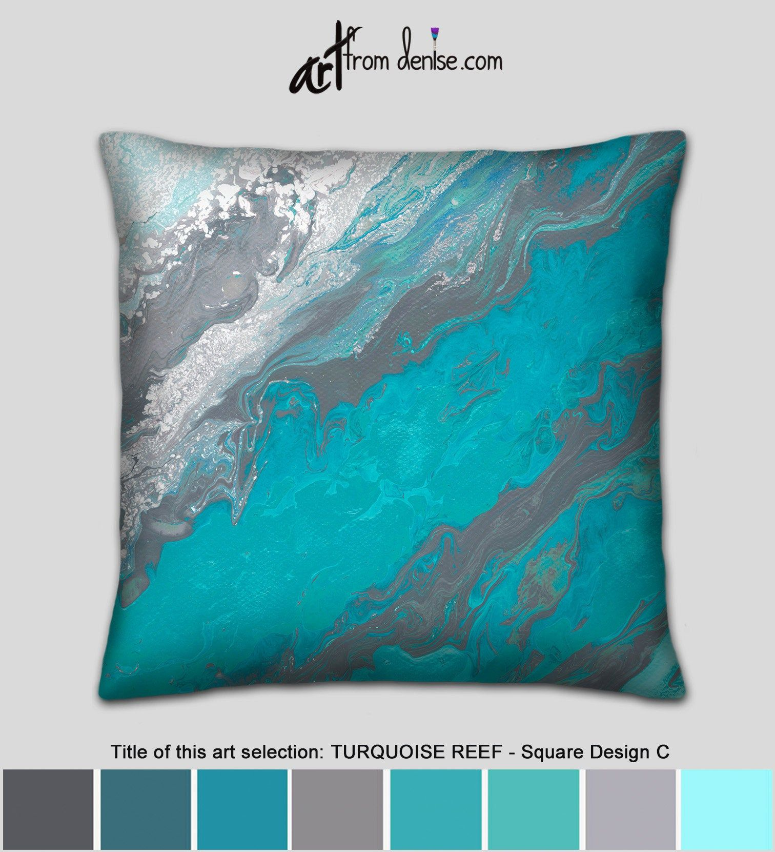 Large Couch Pillows Set Or Gray And Turquoise Decorative Pillow For Bed Decor Or Sofa Unique Abstract Blue Throw Pillow Cover Case In 2020 Couch Pillow Sets Blue Throw Pillows Large