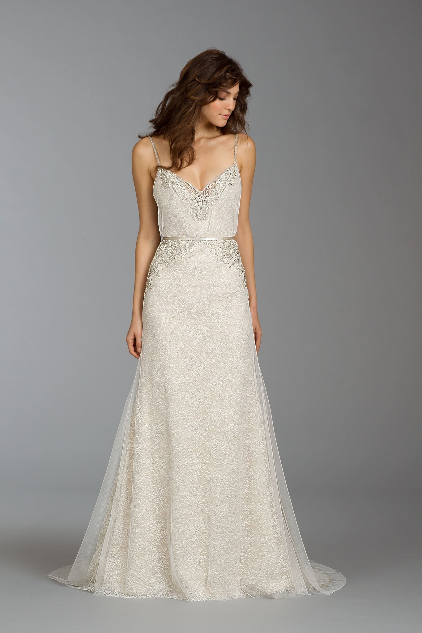 Simple And Delicate Bone Color Wedding Dress