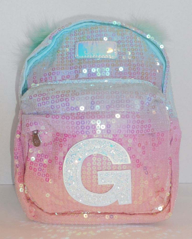 2674c5d32a3e Justice Girls Ombre Initial G Mini Backpack Sequin Accessory Purse Bag New   Justice  Backpack