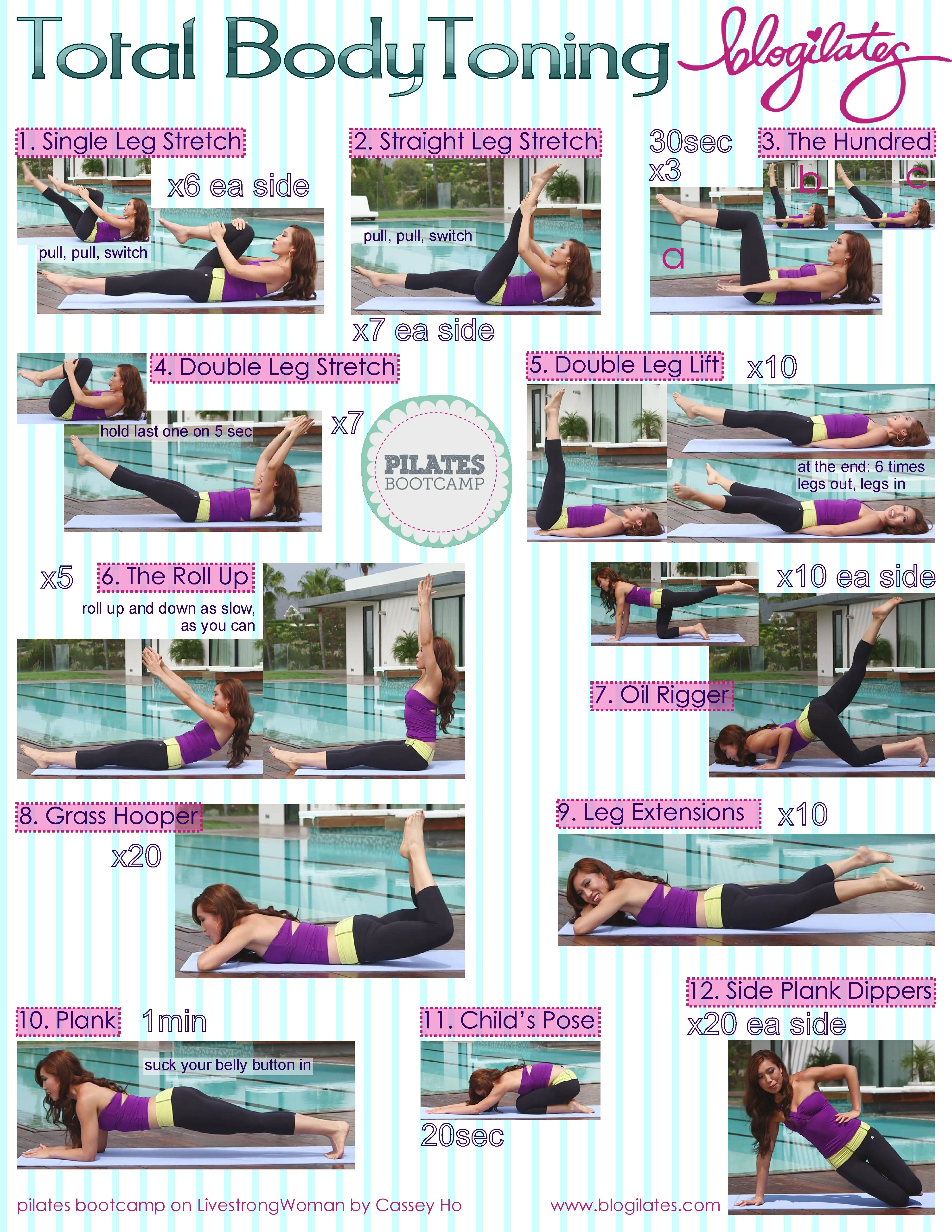 graphic relating to Printable Workout Routine titled Pilates Exercise session Program Printable